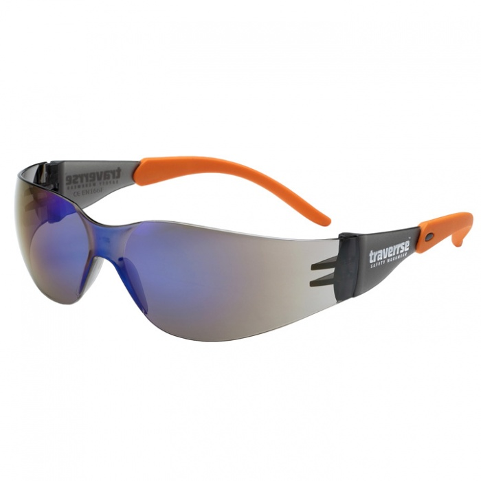Traverrrse Ricochet blue mirror safety specs -  s6